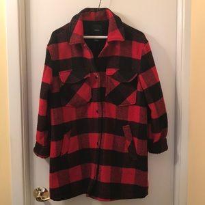 Fleece Plaid Coat